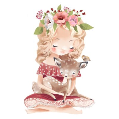 Plakát Cute little girl with a deer, bird and flowers. Best friends watercolor illustration