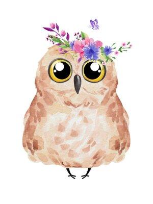 Plakát Cute owl in floral wreath. Watercolor owl set