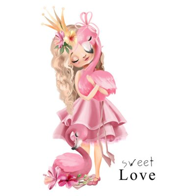 Plakát Cute princess girl in the pink dress and gold crown with flamingo and flowers