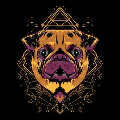 Plakát Cute Pug Dog Vector Crystal Geometry Illustration in Black Background