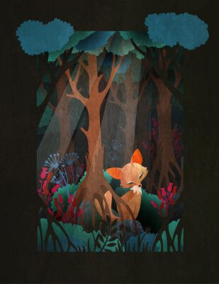 Plakát Cute red fox sitting in the forest fairytale illustration, greeting card or poster design