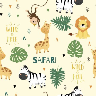 Plakát Cute safari background with giraffe,zebra,lion,monkey,leaves.Vector illustration seamless pattern for background,wallpaper,frabic.include wording wild and free.Editable element