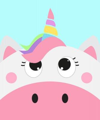 Plakát cute unicorn face, vector illustration