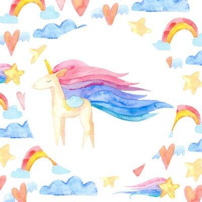 Plakát Cute unicorn horse. Fairytale children sweet dream. Rainbow animal horn character. Frame border ornament square. Aquarelle wild animal,  rainbow, heart, stars, clouds