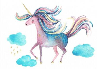 Plakát Cute unicorn on a white background for design