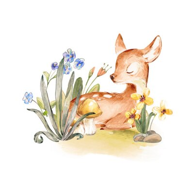 Plakát Cute Watercolor Baby Deer with the blue ribbon surrounded by wild flowers and mushrooms over white. Baby Deer sleeping in the forest. Isolated. Nursery print for baby girl oa boy.