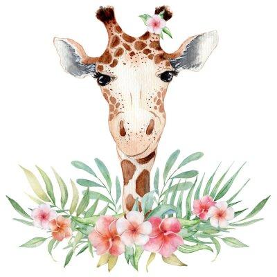 Plakát Cute watercolor geraffe with tropical flowers card