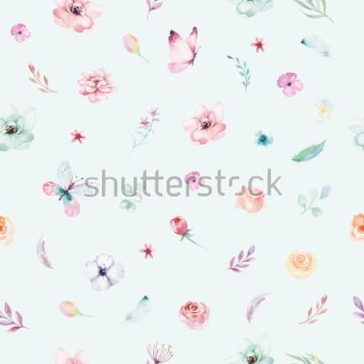 Plakát Cute watercolor unicorn seamless pattern with flowers. Nursery magical unicorn patterns. Princess rainbow texture. Trendy pink cartoon pony horse.