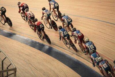 Plakát cyklisté jezdit rychle v zatáčce pohledu shora