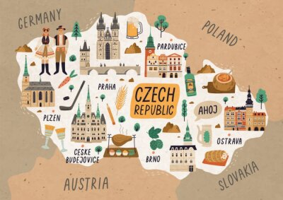 Plakát Czech Republic cultural map hand drawn illustration. European country traditional symbols. People in authentic clothing, national dishes and sightseeing spots. Famous landmarks and food drawing.