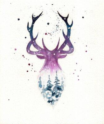 Plakát Deers christmas illustration of watercolor. Greeting card.
