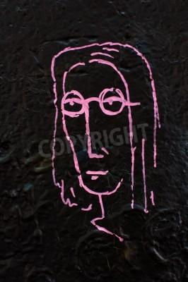 Plakát Detail ze slavné Lennonova zeď v Praze