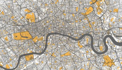 Plakát Detailed Map of London, UK