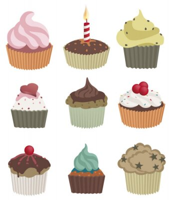 Plakát Devět košíčky. Vektorové ilustrace z devíti lahodné koláčky.