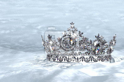 Diamond crown. drahokamy diamantová korunka na posteli sněhu plakáty ... 787c2565d0