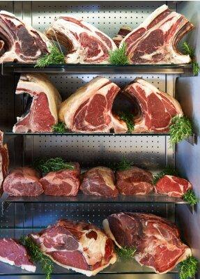Plakát Displej suché Aged maso v Butchers Shop