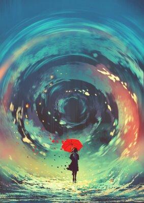 Plakát dívka s červeným deštníkem je vířící voda na obloze, styl digitálního umění, ilustrace malování