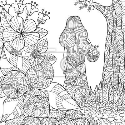Divka V Zahrade Naladove Kresby Pro Omalovanky Pro Dospele Plakaty