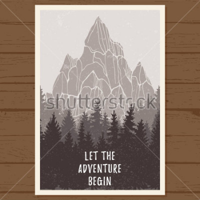Plakát Divoký jehličnatý lesní plakát s horami; borovice, krajina přírody, dřevo přírodní panorama; venkovní dobrodružství kempování, turistika, turistika, návrh šablony; zákazníci konzumují vektorové ilustr