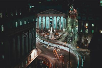 Plakát Dlouhé expozice - Royal Stock Exchange - Londýn - Light Trails - City of London