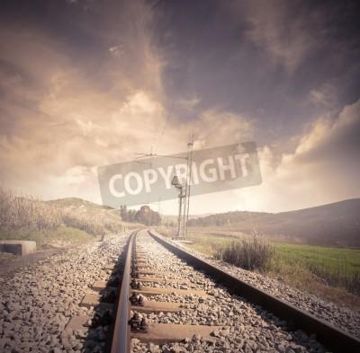Plakát Dlouhý železnice na východ slunce