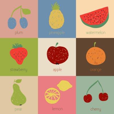 Plakát Doodle ovoce ikony v retro barvách