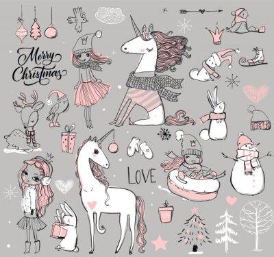 Plakát doodle princezna s jednorožcem