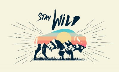 Plakát Double exposure effect buffalo bison silhouette with mountains landscape and stay wild caption. T-shirt print design. Vector illustration.