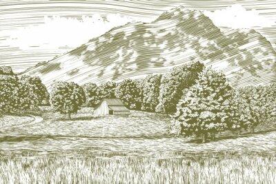 Plakát Dřevoryt styl ilustrace farmu a stodoly s horou v pozadí.