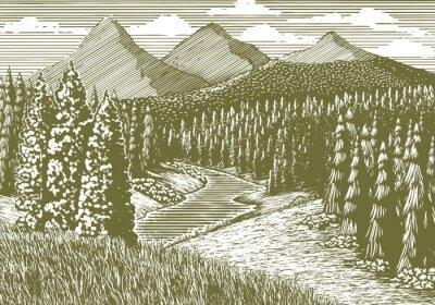 Plakát Dřevoryt styl ilustrace horské krajiny s proudem tekoucí přes něj.