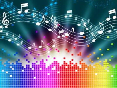 Plakát Duha hudební pozadí znamená, melodie zpěvu a zvukové vlny.