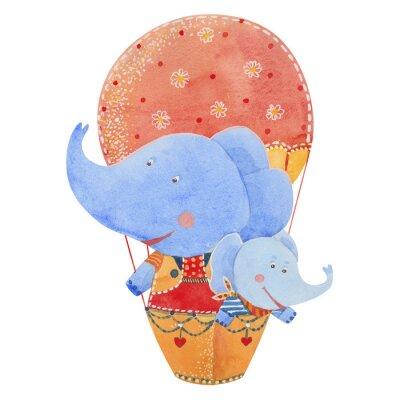 Plakát Dva sloni létat v balónu, akvarel ilustrační