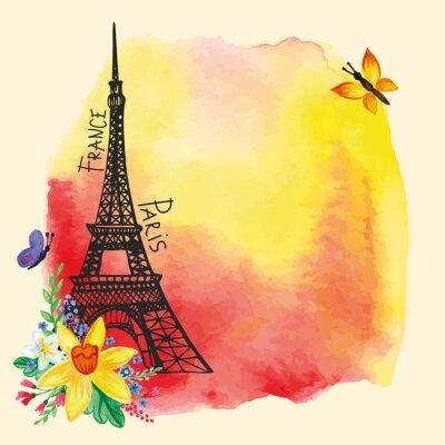Plakát Eiffel tower,Watercolor stain,Narcissus bouquet.Paris card