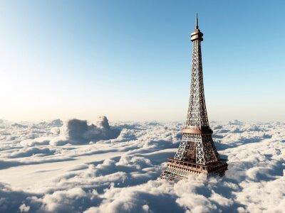 Plakát Eiffelova věž nad mraky