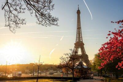 Plakát Eiffelova věž se na jaře strom v Paříži, Francie