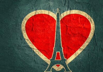 Plakát Eiffelova věž v Paříži. Obrys siluetu. Gradient zářivý pozadí