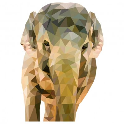 Plakát Elefant aus Dreiecken geformt na bílém pozadí im quadratischen Format