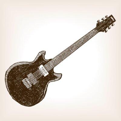 Plakát Elektrická kytara ručně kreslenými skica styl vektorové
