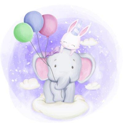 Plakát Elephant and Rabbit Celebrate Birthday