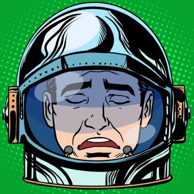 Plakát emotikon smutek Emodži tvář muž astronaut retro