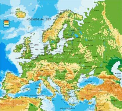Plakát Europe - fyzická mapa
