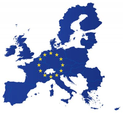 Plakát Europe union map with flag