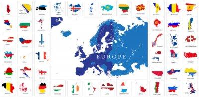 Plakát European countries flag maps