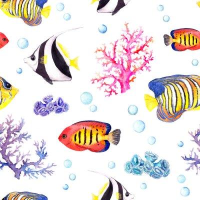 Plakát Exotické ryby, mořské korály a vodní ozdoby. Opakující se vzor. Akvarel