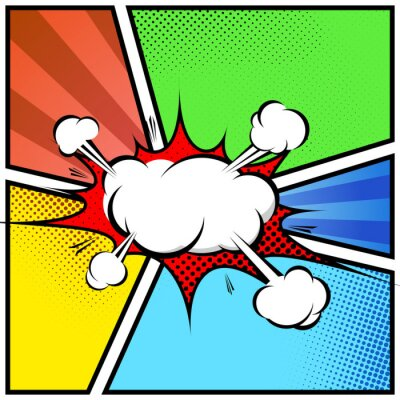 Plakát Explosion cloud abstract comic book style frame page template