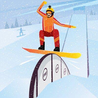 Plakát Extrémní sportovec pohybuje směrem dolů z hor na snowboardu