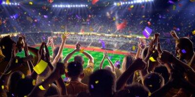 Plakát Fanoušci na stadionu hru panoramatickým výhledem