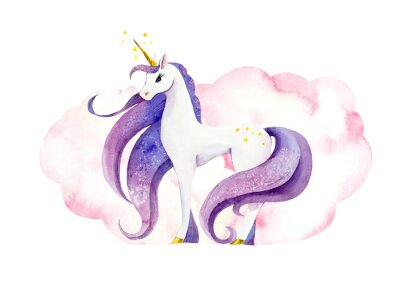 Plakát Fantastic animal - unicorn in pink clouds/ Watercolor hand drawn illustration