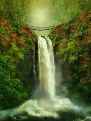 Plakát fantastický vodopád a most