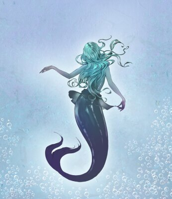 Plakát Fantasy original raster illustration of a cute and beautiful anime mermaid with long blue curly  hair with her back to the viewer